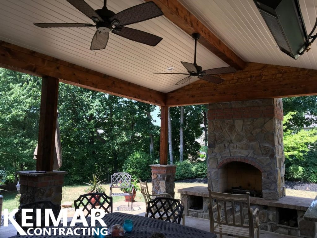 Roof over patio with Fireplace
